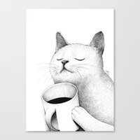 coffe Canvas Prints featuring Coffe & Cat by Sungwon