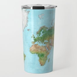 Watercolor physical world map (high detail) Travel Mug