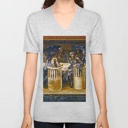 "Sir Edward Coley Burne-Jones ""The Knights of the Round Table Summoned to the Quest by a Damsel"" Unisex V-Neck"