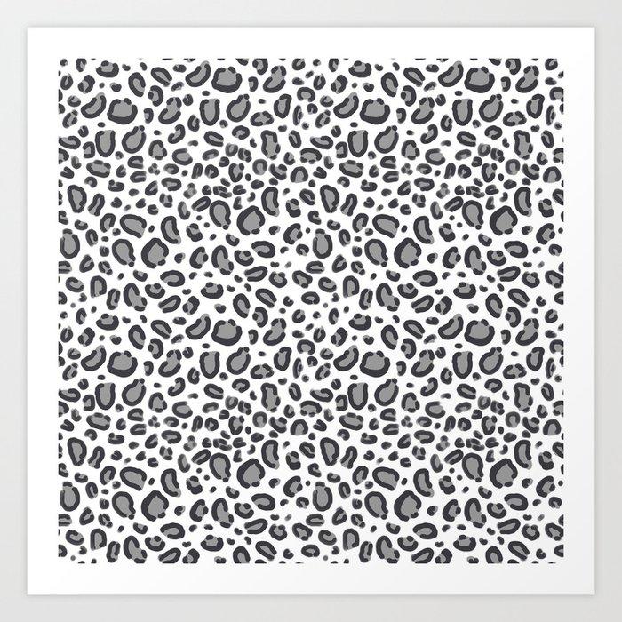 Cheetah pattern animal spots animal print pattern minimal black and white Art Print