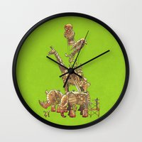 clockwork Wall Clocks featuring The Clockwork Menagerie (Lime) by Eric Fan