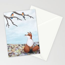 fox and eastern bluebirds Stationery Cards