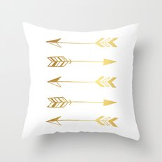 Faux gold foil arrows Throw Pillow