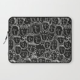 Black & White Hand Drawn People Pattern Laptop Sleeve