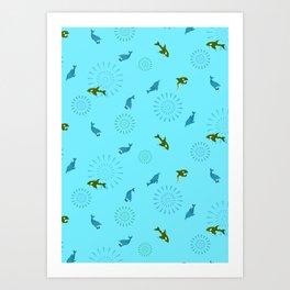 Blue Dolphin and Orca Art Print