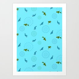 Blue Dolphin and Orca Art Print