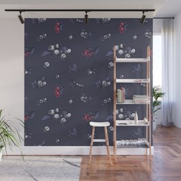 Blueberry pattern, trendy ultraviolet color Wall Mural