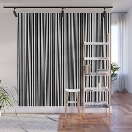 Simply small black and white handrawn stripes - vertical - Mix & Match with Simplicty of life Wall Mural