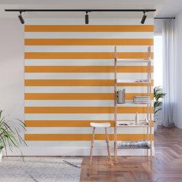 Sacral Orange and White Stripes Wall Mural