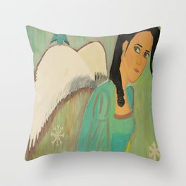 defeated angel Throw Pillow