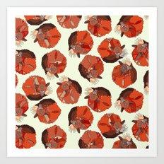 curled fox polka ivory Art Print