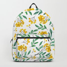Hand painted yellow green watercolor berries floral pattern Backpack