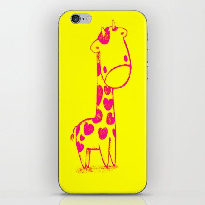 Pink Cute Giraffe iPhone Skin