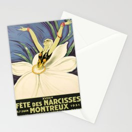 vintage poster montreux fete des narcisses 1931 Stationery Cards