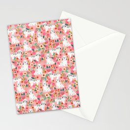 Havanese Floral - dog, dogs, cute dog, white dog, flowers, florals, pink floral Stationery Cards
