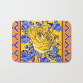 CORAL & BLUE LATTICE & YELLOW ROSE BLUE MORNING GLORY FLOWERS Bath Mat