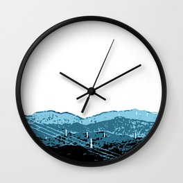 Powerlines in Japan - minimalist mountains Wall Clock