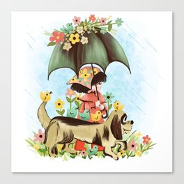 Rain on the green grass, Rain on the tree, Rain on the housetop, But not on me Canvas Print