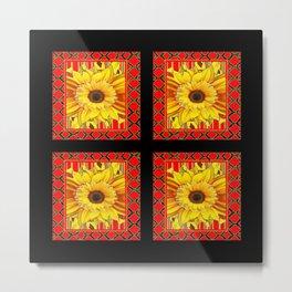 DECORATIVE TEAL-RED & YELLOW SUNFLOWER  BLACK DECO Metal Print