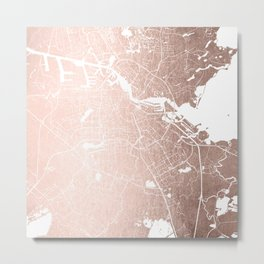 Amsterdam Rosegold on White Street Map Metal Print