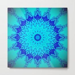 Bright blue turquoise Mandala Design Metal Print