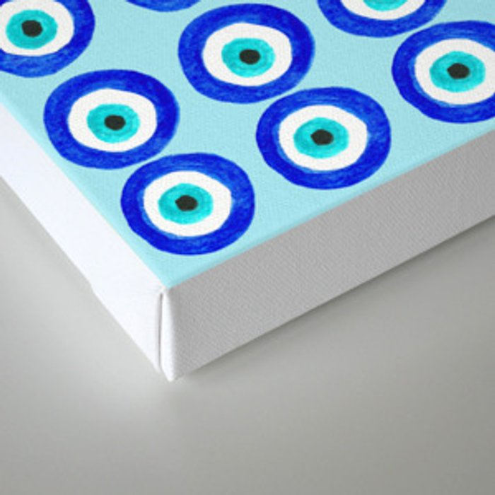 Evil Eye Amulet Talisman - on turquoise Canvas Print
