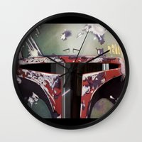 boba Wall Clocks featuring Boba Fett by Mel Hampson