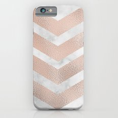 Rose gold chevrons on marble Slim Case iPhone 6s