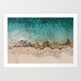Caribbean Sea Blue Beach Drone Photo Art Print