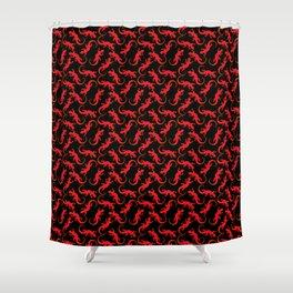 Beautiful bright fire red artistic crawling lizards. Elegant classy black seamless lizard pattern Shower Curtain