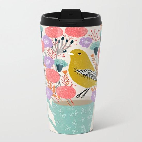 Bird and Flowers - Warbler by Andrea Lauren Metal Travel Mug
