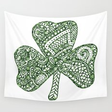Shamrock Doodle Wall Tapestry