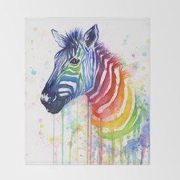 Zebra Watercolor Rainbow Animal Painting Ode to Fruit Stripes Throw Blanket