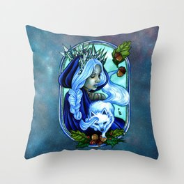 Winter Ice Queen Throw Pillow