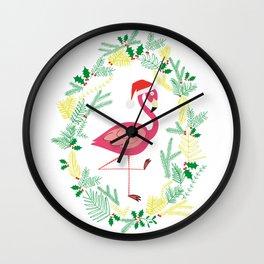 FLAMINGO CHRISTMAS WREATH Wall Clock