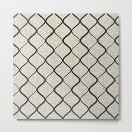 Black Bege Modern Lines Pattern Metal Print