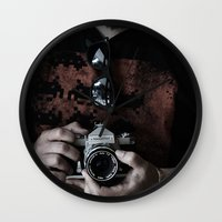 photographer Wall Clocks featuring photographer by caporilli