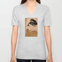 Vintage Japanese Ukiyo-e Woodblock Print Woman Portrait V Unisex V-Neck