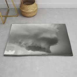 What May Come - Supercell Thunderstorm in Kansas in Black and White Rug