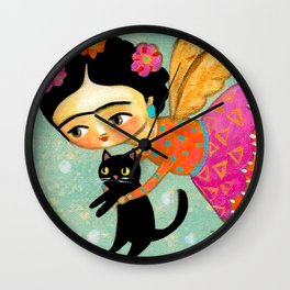 Winter Angel with Black Cat  by Tascha Wall Clock