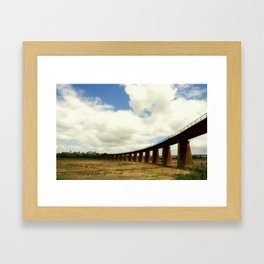 Curved rail bridge across the might Murray River Framed Art Print