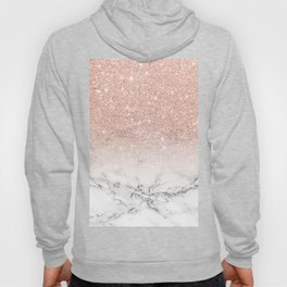 Modern faux rose gold pink glitter ombre white marble Hoodie