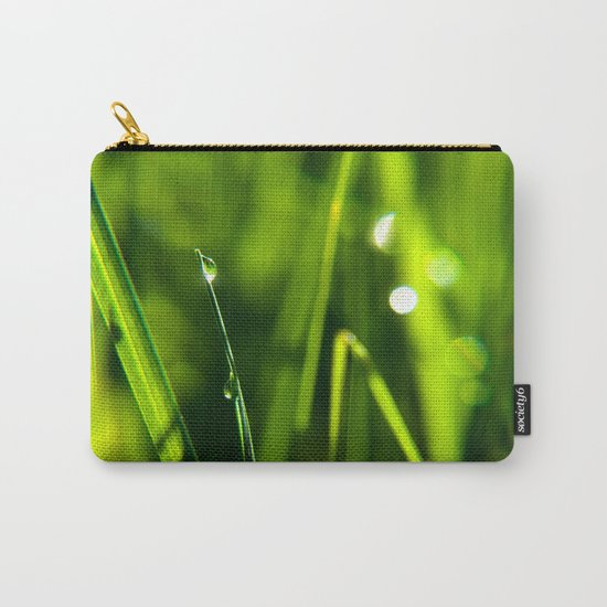 Dew on grass at early backlight Carry-All Pouch