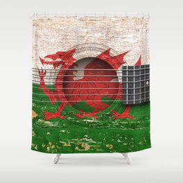 Old Vintage Acoustic Guitar with Welsh Flag Shower Curtain