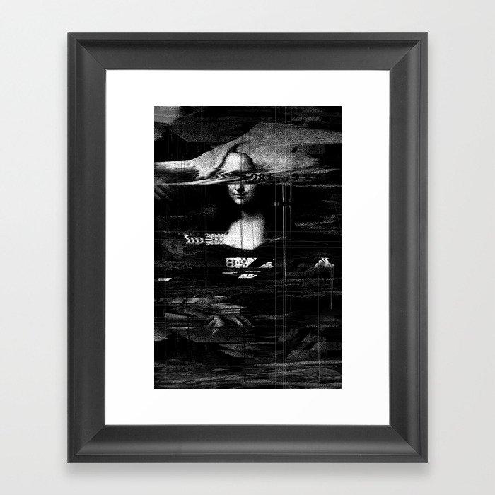Mona Lisa Glitch Framed Art Print