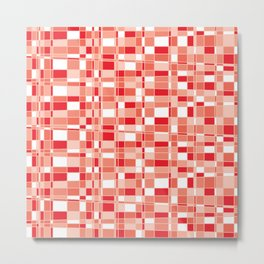 Mod Gingham - Red Metal Print