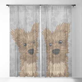 Huey-Yorkie Sheer Curtain