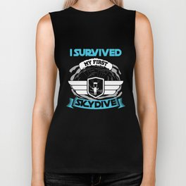 I Survived My First Skydive Extreme Sports  Parachute Skydiving Gifts Biker Tank