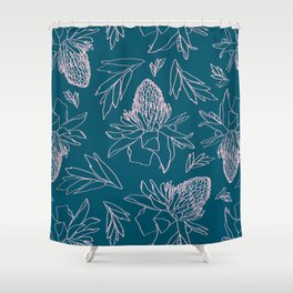 Tropical Ginger Plants in Coral + Dark Teal Green Shower Curtain