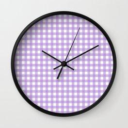 Chic Lilac Purple Gingham Wall Clock